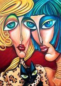 Showgirl, Lippen, Frau, Katze