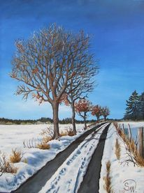 Idylle, Baum, Winterweg, Landschaft