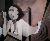 Kubismus, Akt, Frau, Zigarette