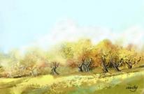 Landschaft, Baum, Digital, Gold