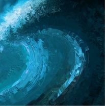 Blau, Modern, Perfekt, Welle