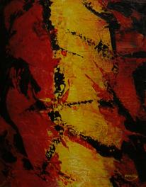 Abstrakt, Natur modern, Gelb, Rot schwarz