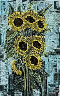 Abstrakte kunst, Sonnenblumen, Abstrakt, Natur modern