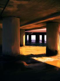 Sommerabend, Digital, Digitale kunst, Brücke