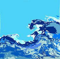 Welle, Blau, Digital, Atmosphäre