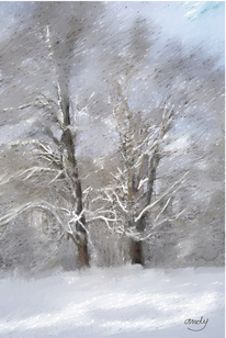 Winter, Digital, Baum, Digitale kunst