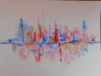 Abstrakt, Stadt, Skyline, Aquarell
