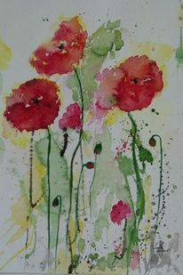 Blumen, Rote blumen, Ismeta gruenwald desig, Sommerblume