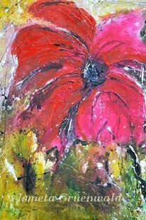 Struktur, Blumenmalerei, Rote blumen, Grün