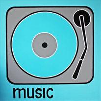 Musik, Blau, Lounge, Plattenspieler