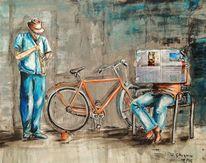 Musik, Sraße, Straßenmusikant, Malerei
