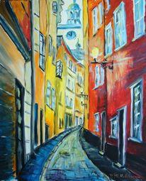 Acrylmalerei, Malerei, Italienische, Altstadt