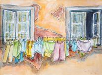 Wäsche, Stadt, Bunt, Malerei