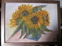 Blau sonnenblumen, Stillleben, Gelb, Farben