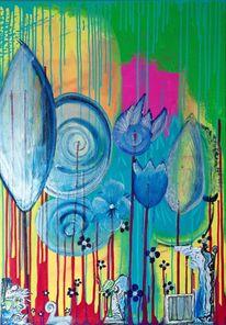 Collage, Acrylmalerei, Neon, Malerei
