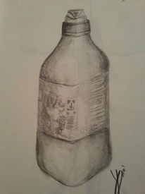 Bleistiftzeichnung, Malerei, Flasche, Erfrischung
