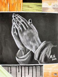 Acrylmalerei, Hände, Kreidezeichnung, Beten