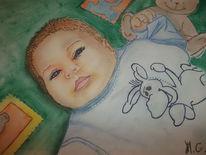 Mädchen, Pastellmalerei, Baby, Blau