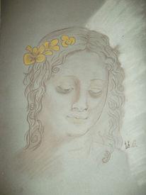 Kohlezeichnung, Kopie, Frau, Skizze