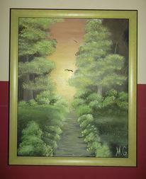 Sonnenaufgang, Wald, Malerei