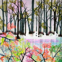 Peter doig, Baum, Sonnenaufgang, Wald