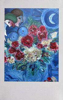 Blumen, Mond, Romantisch, Replikat