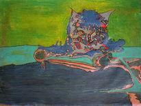 Sprung, Ölmalerei, Grün, Katze