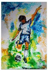 Gemälde, Malen, Fußball, Acrylmalerei