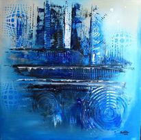 Blau, Handgemalte, Abstrakte bilder, Abstrakt