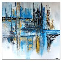 Blau, Acrylmalerei, Grau, Wandbild abstrakt