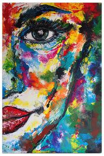 Gemälde, Blau pink gelb, Pouring, Portrait
