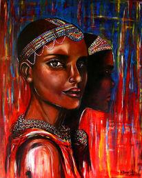 Blau, Gemälde, Afrika, Perlen