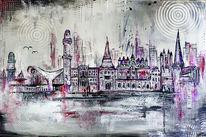 Stadt, Leuchtturm, Gemälde, Steintor