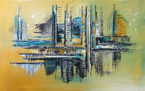 Ocker, Weiß, Malerei, Abstrakte malerei