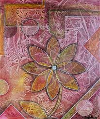 Abstrakt, Gemälde, Folientechnik, Blumen