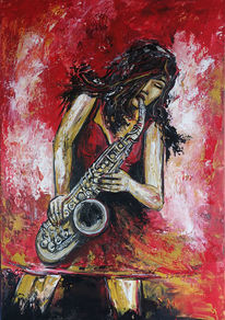 Saxophonistin, Acrylmalerei, Kunst bild, Auftragsmalerei