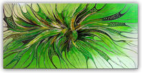 Acrylmalerei, Wandbild, Abstrakte malerei, Grün