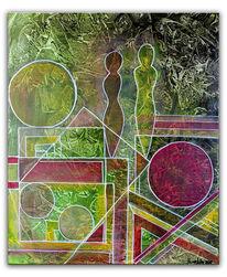 Rot, Formen abstrakt, Abstrakte malerei, Figuren abstrakt