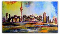 Stadt malerei, Modern, Berlin skyline, Acrylmalerei
