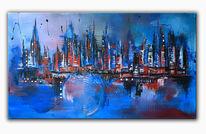 Malerei, Skyline, Moderne kunst, Blau