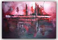 Gemälde, Abstrakt, Lila, Moderne malerei