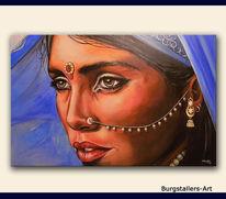 Frau, Malerei, Indien, Blau