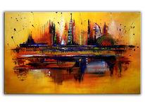 Dubai, Stadt, Gelb, Gemälde