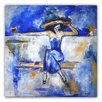 Weinglas, Frau mit hut, Modern, Blau