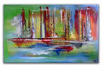 Rot, Abstrakt, Gelb, 80x140