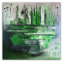 Grün, Grau, Dekoration, Abstrakt