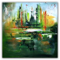 Abstrakt, Grün, Gemälde, Malerei