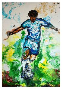 Wandbild, Sport malerei, Fußball, Blau grün gelb