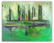 Grün, Stadt, Dekoration, Abstrakt