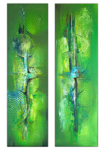 Grün, Zweiteilig, Dekoration, Abstrakt